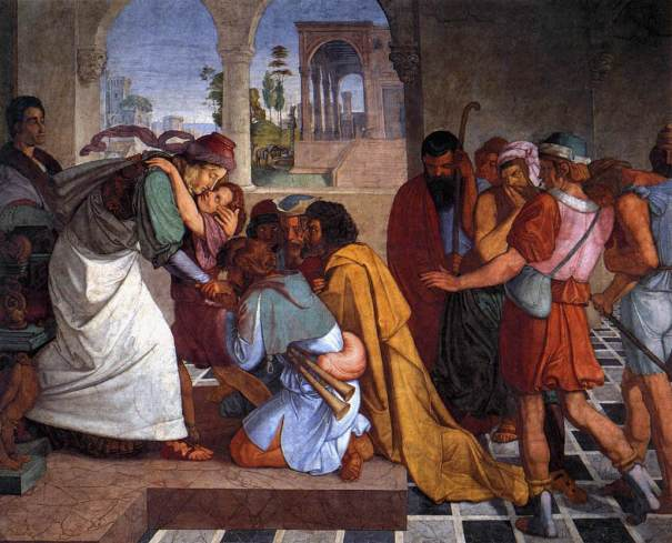 """Recognition of Joseph by his Brothers,"" fresco by Peter Cornelius, 1816-17"